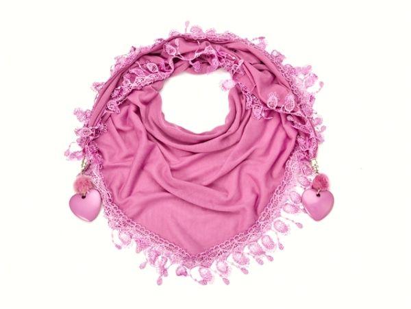 dreieckiger Schal - dunkel - rosa 52049