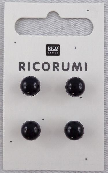 Ricorumi 4 Knopfaugen Braun-schwarz 8,5 mm