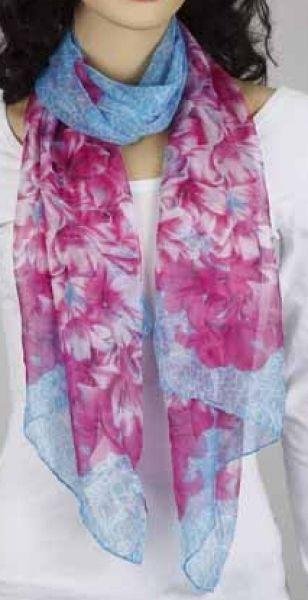 Schal - pink-himmelblau 349-12