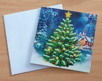 Diamond Painting Grußkarte Weihnachtsbaum (fertig)
