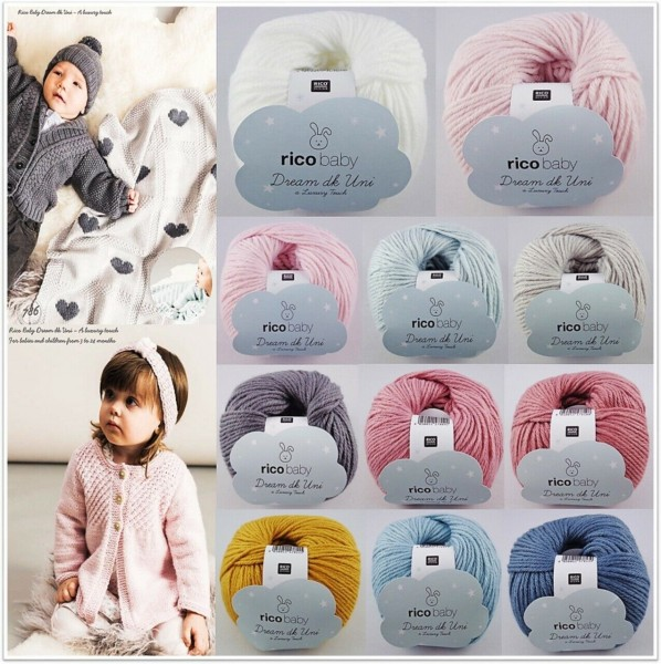 Rico Design Baby Dream dk Uni a Luxury Touch, 50g Babywolle