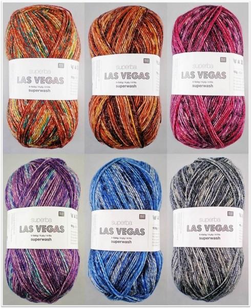 Rico Design Superba Las Vegas, 100g Sockenwolle 4-fach mit Glitzer-Effekt