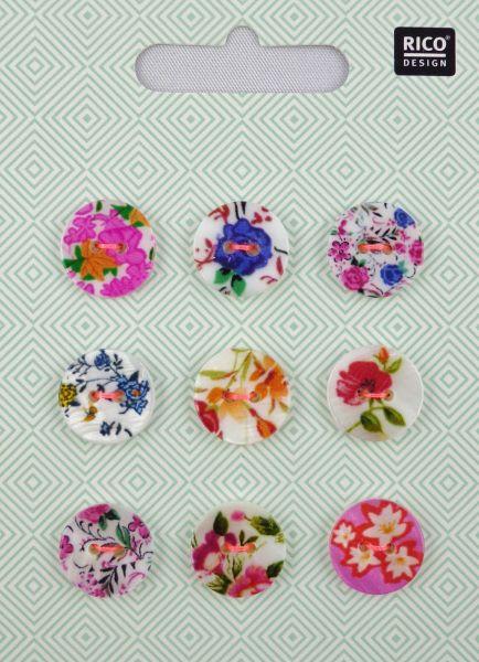Rico Perlmuttknopfmix Floral 2 Ø 1,5 cm No. 892