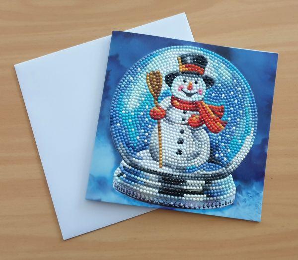 Diamond Painting Grußkarte Schneekugel mit Schneemann (fertig)