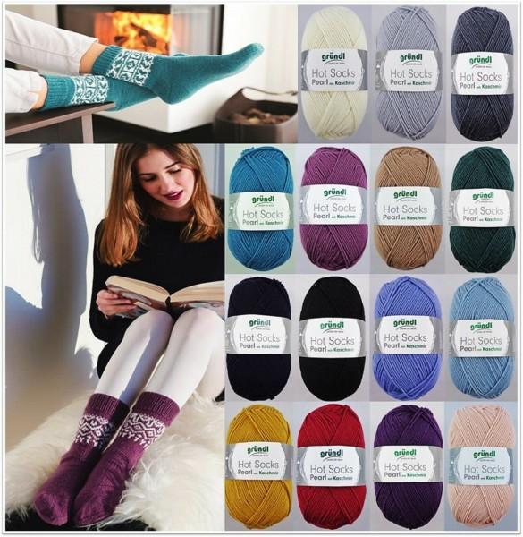 Gründl Hot Socks Pearl mit Kaschmir, 50g Sockenwolle 4-fach