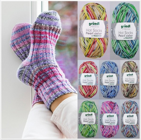 Gründl Hot Socks Pearl Color mit Kaschmir, 50g Sockenwolle 4-fach