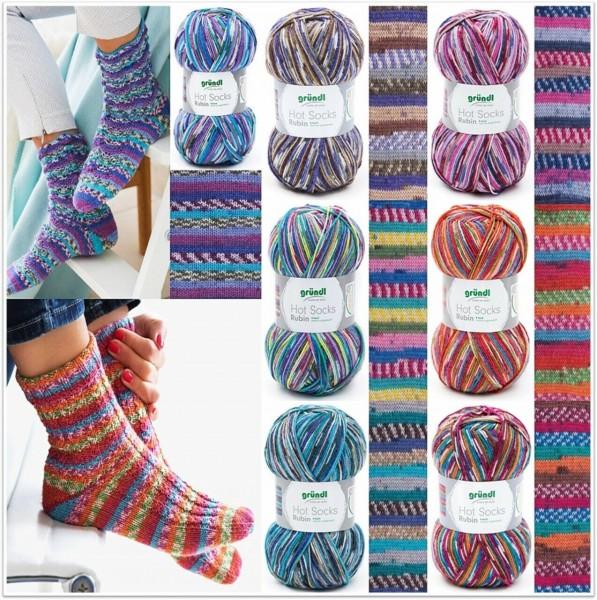 Gründl Hot Socks Rubin, 100g Sockenwolle mit Merino und Bambus 4-fach