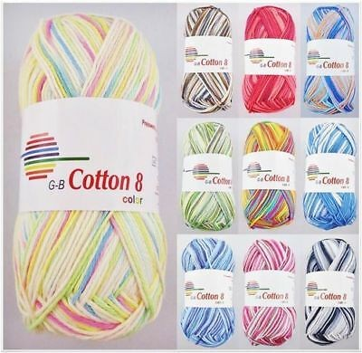 G-B Cotton 8 Color, 50g Baumwollgarn in Printfarben
