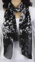 Schal - schwarz mit Blumen 343-01