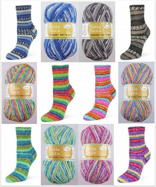 Rellana Flotte Socke Baumwolle + Wolle Stretch, 100g Sockenwolle 4-fach