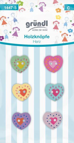 Gründl Holzknöpfe Herz farbig-sortiert 1447-5