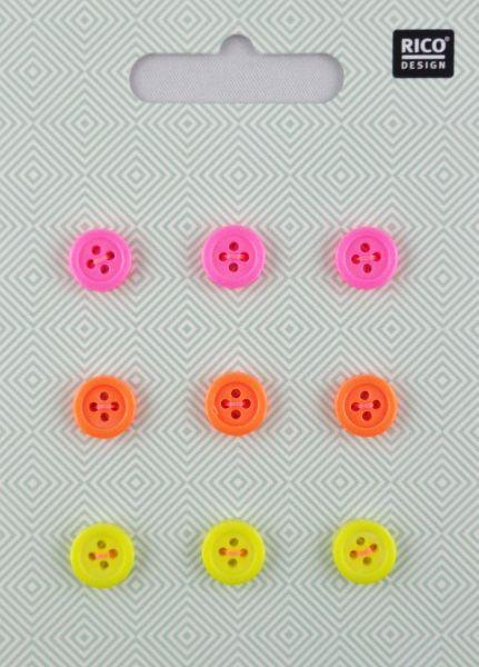 Rico Knopfmix Neon Ø 1cm No. 890