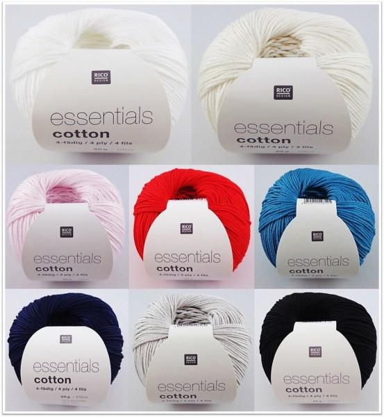 Rico Design Essentials Cotton 4-fädig, 50g glänzendes Baumwollgarn