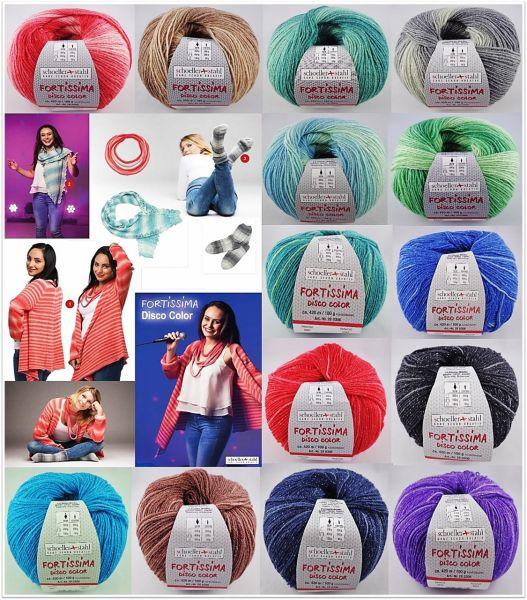 Schoeller & Stahl Fortissima Disco Color, 100g Sockenwolle mit Glitzer