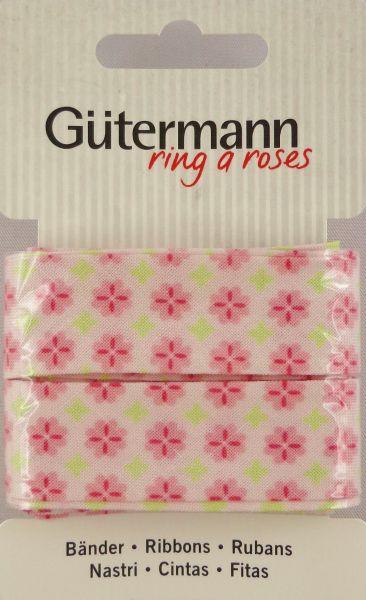 Bänder weiß mit rosa Blümchen 650285 Col.372