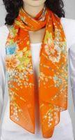 Schal - orange mit Blumen 343-13