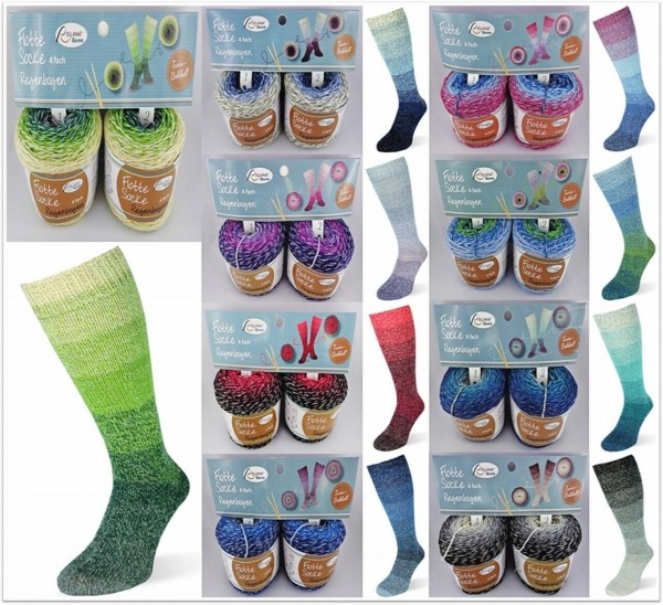 Rellana Flotte Socke Regenbogen = Twin Bobbel, 100g (= 2x 50g) Sockenwolle 4-fach