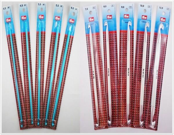 Prym Tunesische Häkelnadeln (beidseitig) 25cm lang aus Aluminium in verschiedenen Stärken