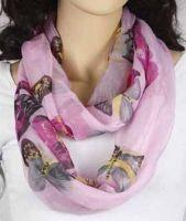 Loop-Schlauchschal - rosa mit Schmetterling 346-22