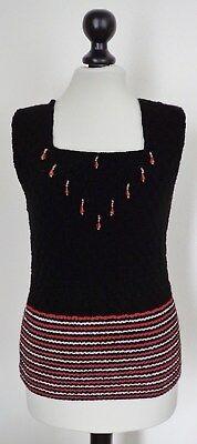Top schwarz silber rost mit Perlen, handgestrickt, Gr. ca. 34/36