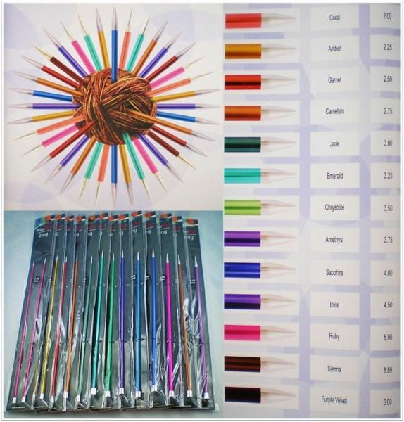 Knit Pro Zing Stricknadeln 40cm lang aus Aluminium in verschiedenen Stärken