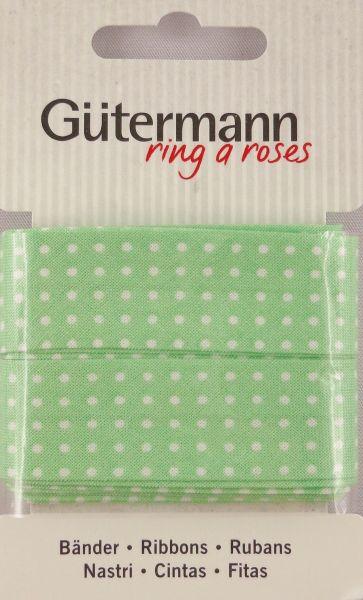Bänder grün mit weißen Punkten 650277 Col.152