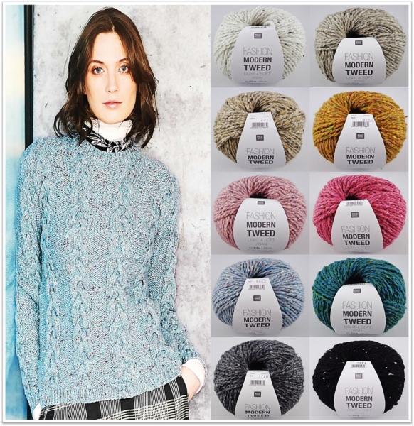 Rico Design Fashion Modern Tweed Light & Soft Aran, 50g Tweedgarn