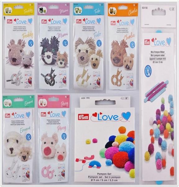 Prym Love Mini Pompon-Maker & Pompon-Schablonen für verschiedene Tiere