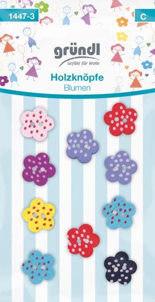 Gründl Holzknöpfe Blumen farbig-sortiert 1447-3