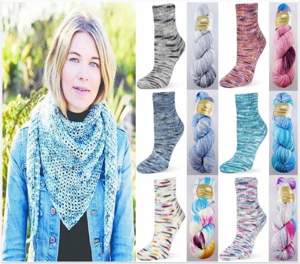 Rellana Flotte Socke Farbklexx, 100g Sockenwolle 4-fach, handgefärbt