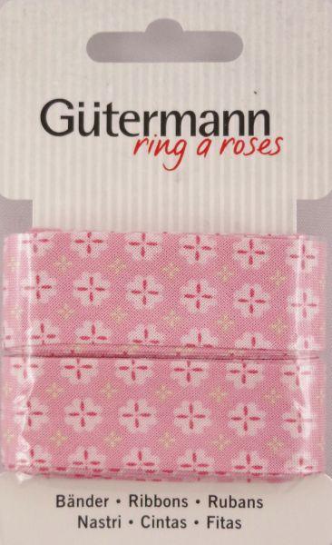 Bänder rosa mit weißen Blümchen 650285 Col.660