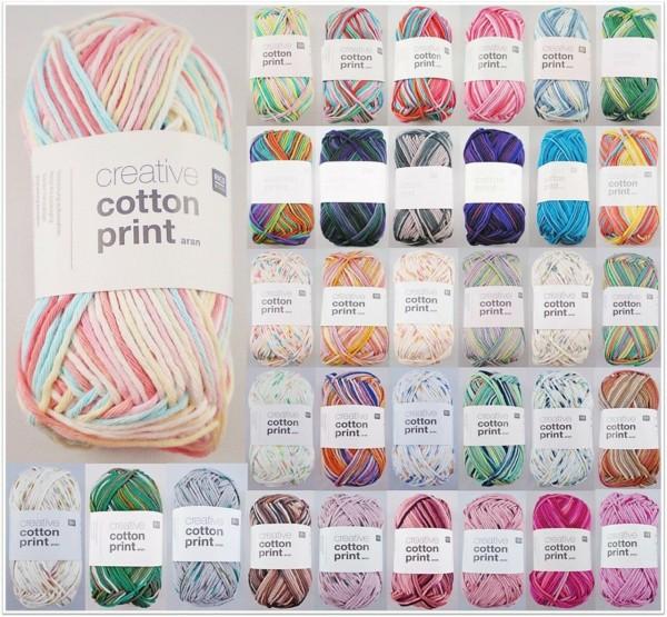 Rico Design Creative Cotton Print Aran, 50g Baumwollgarn