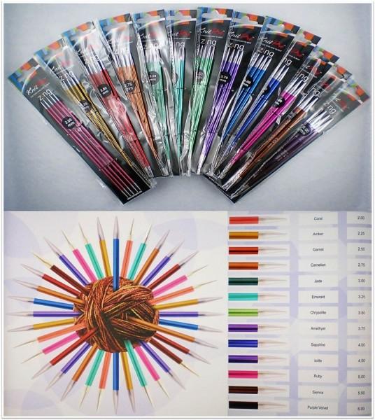 Knit Pro Zing Nadelspiel 15cm lang aus Aluminium in verschiedenen Stärken