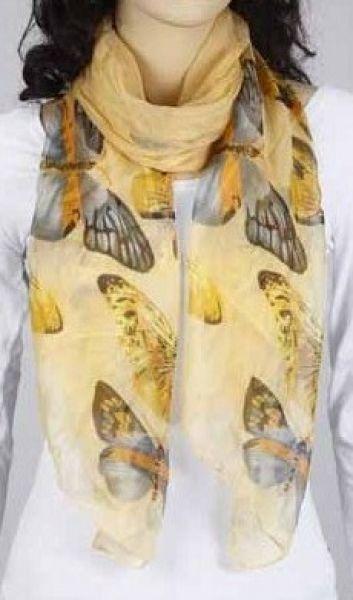 Schal - pastell-gelb mit Schmetterling 347-23