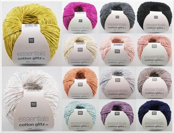 Rico Design Essentials Cotton Glitz dk, 50g Baumwollgarn mit Glitzereffekt