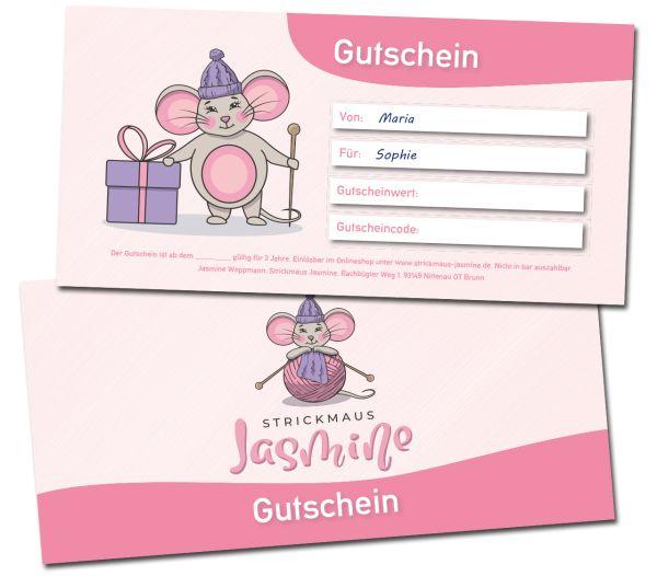 Gutschein Strickmaus Jasmine 25 Euro & 50 Euro