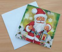 Diamond Painting Grußkarte Weihnachtsmann mit Laterne (fertig)