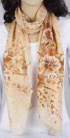 Schal - beige mit Blumen 343-11