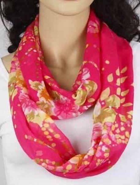 Loop-Schlauchschal pink mit Blumen 342-08