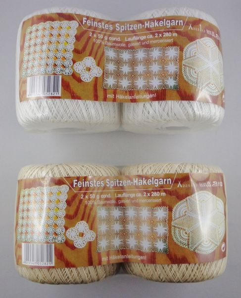 Zettl Feinstes Spitzen-Häkelgarn, 2 x 50g Filethäkelgarn