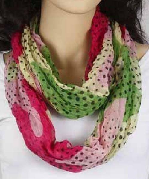 Loop-Schlauchschal - grün-rosa-pink-vanille - gepunktet 361-09