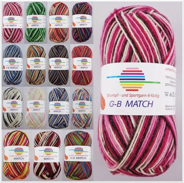 G-B Match Strumpf- & Sportgarn, 50g Sockenwolle 4-fach