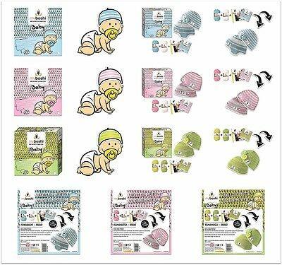 My Boshi Baby Häkelset: Wolle + Häkelnadel + Label + Anleitung für eine Baby-Mütze