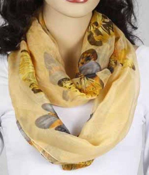 Loop-Schlauchschal - pastell-gelb mit Schmetterling 346-23