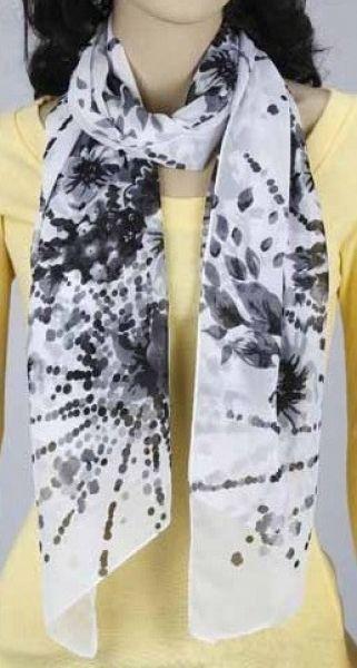 Schal - weiß mit Blumen 343-20