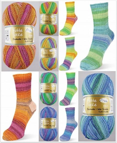 Rellana Flotte Socke Baumwolle + Wolle Stretch Tutti Frutti, 100g Sockenwolle 4-fach
