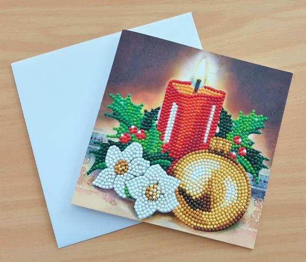 Diamond Painting Grußkarte Kerze & Weihnachtskugel (fertig)