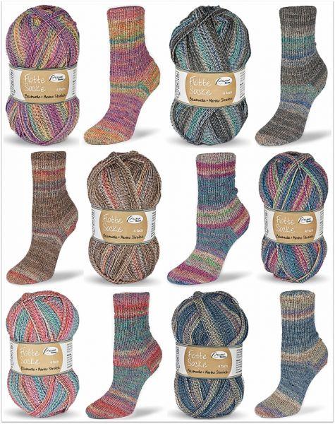 Flotte Socke Baumwolle + Merino Stretch, 100g Sockenwolle 4-fach