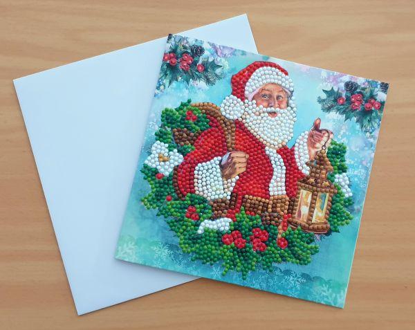 Diamond Painting Grußkarte Weihnachtsmann (fertig)