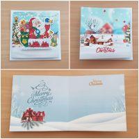 Diamond Painting 3D-Grußkarte Weihnachtsmann mit Geschenke (fertig)
